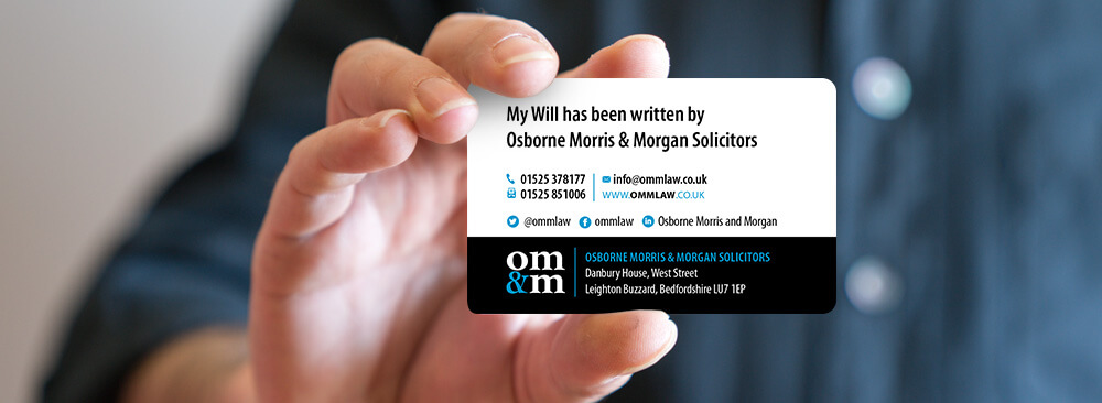 OMM Solicitors Will Card